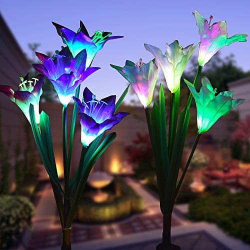 Flower Yard Decor - WOHOME Outdoor Solar Garden Stake Lights 2 Pack Solar Flower Lights with 8 Lily Flower,Multi-Color Changing LED Lily Solar Powered Lights for Patio,Yard Decoration,Bigger Flower and Wider Solar Panel