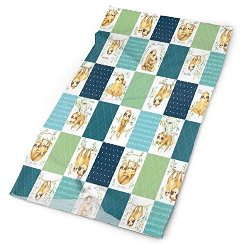 Headband Sloth Cheater Quilt – Patchwork Blanket Baby Boy Bedding, Teal Blue Green Athletic Face Mask Headwear Wide Head Wrap Headbans 16-in-1 Multifunctional