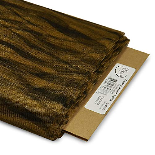 Expo International 54-Inch Zebra Print Polyester Tulle Fabric, 25-Yard Bolt, Antique Gold