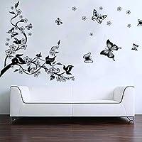 BestOfferBuy Romantici Stickers da Muro in 3D con Decalcomania di un Albero con Farfalle