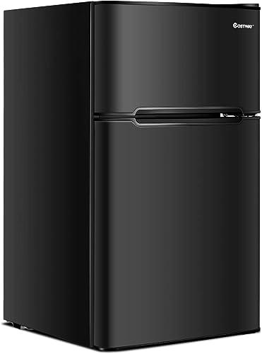 COSTWAY-Compact-Refrigerator,-3.2-cu-ft.-Unit-2-Door-Mini-Freezer-Cooler-Fridge