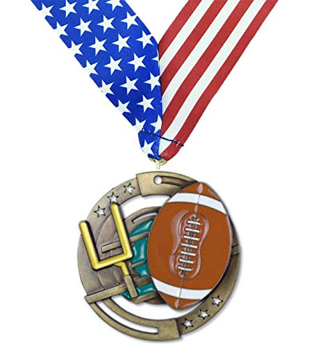 (Decade Awards Football M3XL Premium Die Cast Color Medal, Gold - 2.75 Inch Wide First Place Medallion with Stars and Stripes American Flag V Neck Ribbon)