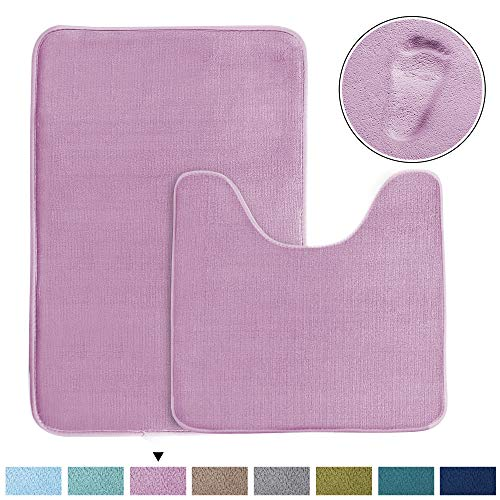 (Bathroom Rugs Luxury Memory Foam 2-Piece Mat Set, Soft Plush Shower Rug + Toilet Mat. 1'' Microfiber Velvet Carpet, Super Absorbent Mats, Machine Washable Bath Mats (Curved Set, Lilac))