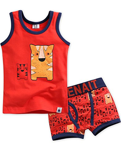 Vaenait baby 2T-7T Kids Boys 2pcs Underwear Undershirt Boxer Brief Set Tiger Brother L