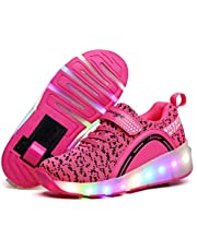 Qneic Roller Shoes for Girls Boys Sneakers LED Light Up Wheels Shoes Roller Skates for Kids Gifts