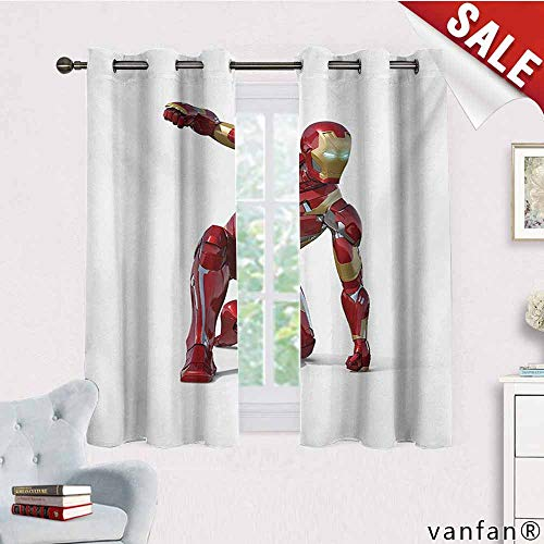 Big datastore Pattern DIY Available Curtain,Superhero,Robot Transformer Hero with Superpower in Costume Cyber Man Fun Character Print,with Solid Grommet Top White Maroon,W63 Xl45]()
