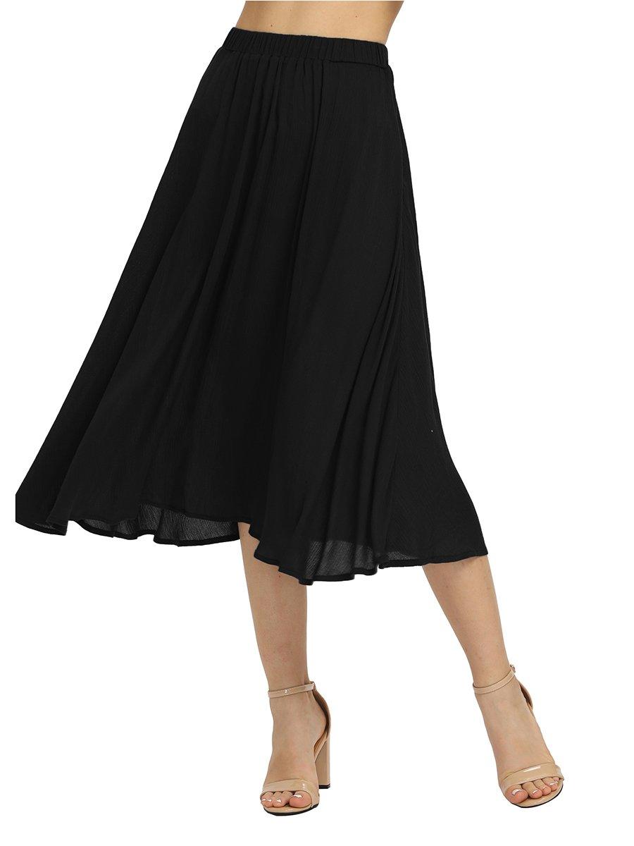 Romwe Women's Casual Summer Elastic Waist Midi Loose Swing Skirt Black M