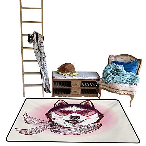Aurauiora Home Carpet Floor Mat Cartoon,Hipster Husky Dog with Hearts Sunglasses and Scarf Fashion Animal Art Print,Pink Cream Black.jpg 48