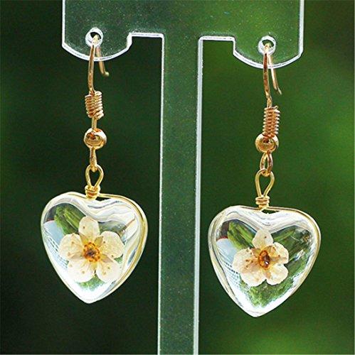Heart-Shaped Glass Ball Earrings Simple Flower Ear Hooks,Yellow