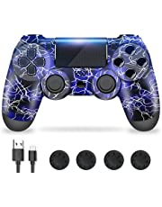 Controller for PS4, PS4 Controller, Manette PS4, Shineled Touch Panel Gamepad with Double Vibration, Light Bar, and Audio Function, Gaming Joystick Compatible with PS4 / Slim/Pro Console