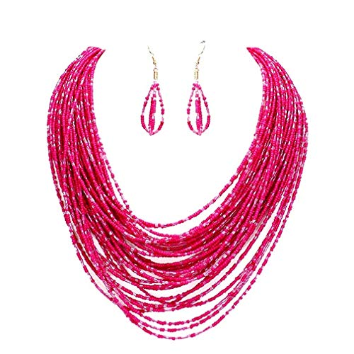 Uniklook Statement Layered Strands Colored Mini Seed Beads Beaded Chunky Wire Necklace Earrings Set Gift Bijoux (Pink)