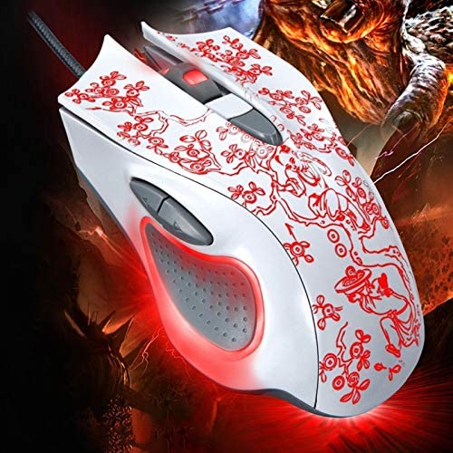 Length 169 USB 2400DPI Four-Speed Adjustable LED Backlight Wired Optical E-Sport Gaming Mouse with Counter Weight 1.45m Premium Material Color : White