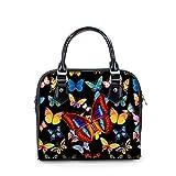 FOR U DESIGNS Black Butterfly Retro Handbag for Women PU Leather Messenger Bag
