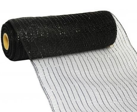 10 inch x 30 feet Deco Poly Mesh Ribbon - Black Metallic with Black Foil: - Black Mesh Material