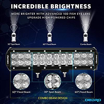 LED Light Bar, OEDRO 12Inch 135W 11240LM with Advanced10D Fish Eyes Lens, Spot Flood Combo Lights Bar with Wiring Harness IP68 Grade Work Lights Off Road Light Fit for Pickup Jeep SUV 4X4 ATV UTE etc: Automotive