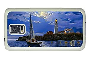 Hipster Samsung Galaxy S5 Case rugged cases couple lighthouse art PC White for Samsung S5
