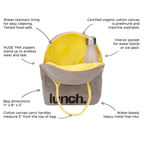 Fluf Zipper Lunch Bag, Organic Cotton (Grey 'lunch') by Fluf (Image #3)