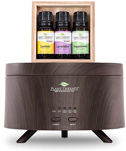 Plant Therapy Lemon, Lavender, Peppermint Aromafuse Set, Wood Grain