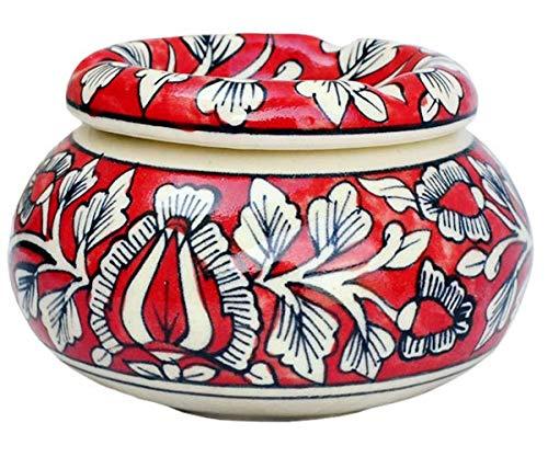 Javi - Cenicero marroquí con Tapa, de cerámica, Pintado a Mano, 10 cm, para Cenizas en Interiores y Exteriores, con 3...