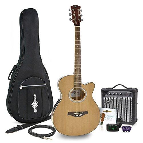 Thinline Elektroakustische Gitarre Natural und 15-Watt-Verstä rker Paket Gear4music