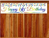 CakeSupplyShop Item#066RPB Happy 66th Birthday Rainbow Wall Decoration Indoor / OutDoor Party Banner (10 x 50inches)