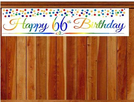 CakeSupplyShop Item#066RPB Happy 66th Birthday Rainbow Wall Decoration Indoor / OutDoor Party Banner (10 x 50inches)