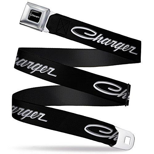 Charger Script Emblem Corner Full Color Black Silver Fade White Charger Seatbelt Belt Kids (Yellow Airplane Jacket)