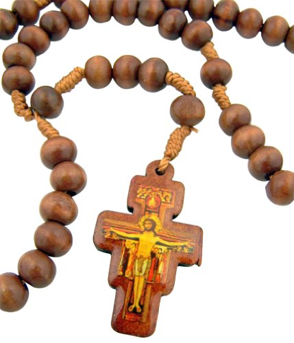 (Mens Womens Catholic Gift 8mm Wood Bead Saint St Francis of Assisi San Damiano)
