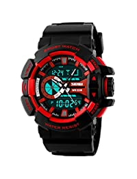 Panegy Outdoor Waterproof Boys Girls Cool Sport Digital Alarm Stopwatch Chronograph Wrist Watch Gift Display - Red