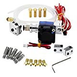 Zomiee J-head Hotend with Fan + 5pcs 1.75mm Stainless Steel Nozzles Throat with PTFE Tube + 5pcs 0.4mm Brass Extruder Nozzle Print Heads + Volcano kit for 1.75mm V6 Makerbot RepRap 3D Printer