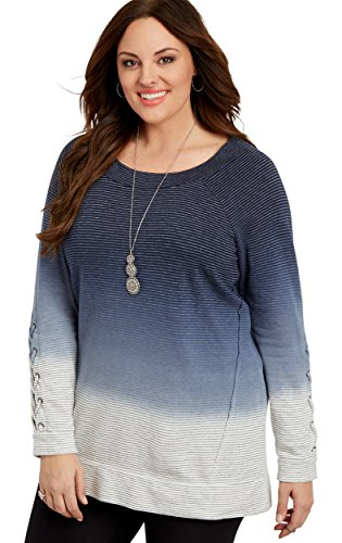 maurices Women's Plus Size Dip Dye Tunic Sweatshirt With Lace Up Sleeves 2 Blue Jasmine
