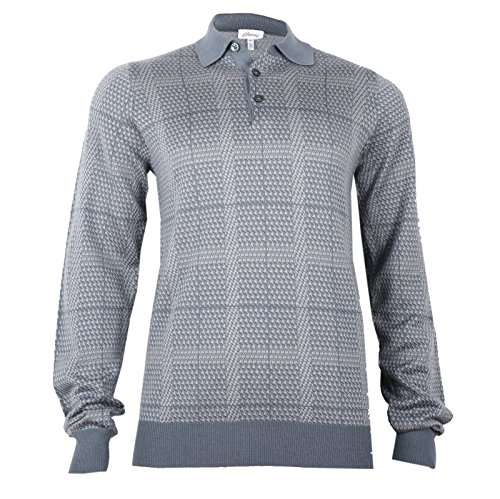 Brioni Men's Cashmere Silk Grey Polo Sweater, size 48 (S)