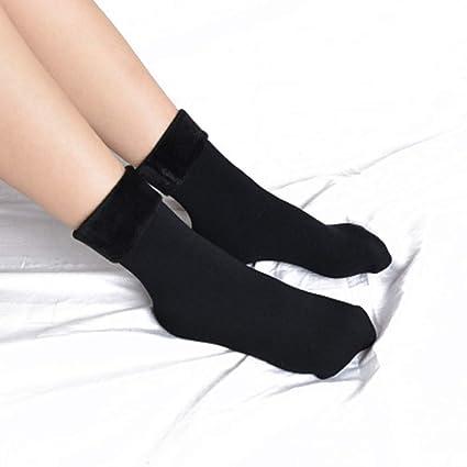 Liuxc Calcetines Invierno Wamer Mujeres Espesar Calcetines térmicos de Nieve Botas sin Costuras Calcetines de Dormir
