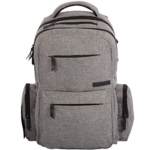 Baby Diaper Bag Backpack – Multi-function Organizer with Stroller Straps, Large Changing Pad and Insulated Pockets, Grey – FREE Storage Bag Included