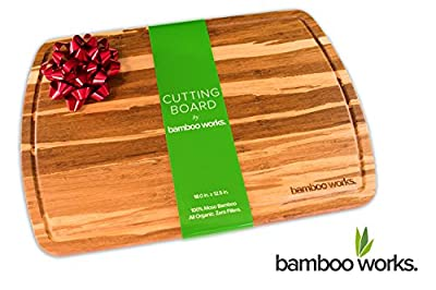 Ultra-Premium Tiger Stripe Bamboo Cutting Board and Cheese Plate - Organic and Antimicrobial - Extra Large 18 by 12.5 Inch Wood Serving Tray with Drip Groove by Bamboo Works