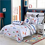 Newrara White Color With Cartoon Dinosaur Printed Boys Quilt Set 2PCS Twin 71