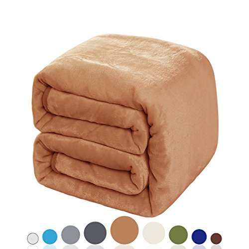 Solid Maple Futon (Balichun Luxury 330 GSM Fleece Blanket Super Soft Warm Fuzzy Lightweight Bed or Couch Blanket Twin/Queen/King Size(King ,Tan))