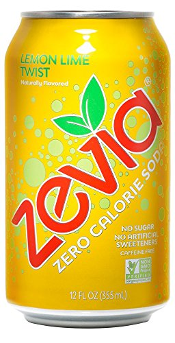 Zevia Zero Calorie Soda, Lemon Lime Twist, Naturally Sweetened Soda, (24) 12 Ounce Cans; Lemon Lime-flavored Carbonated Soda; Refreshing, Full of Flavor and Delicious Natural Sweetness with No Sugar -