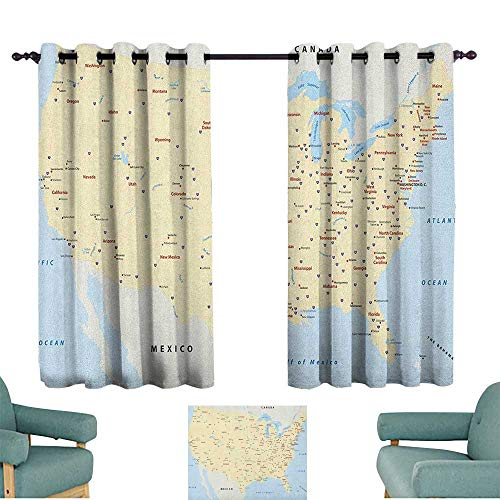 (WinfreyDecor Map Sliding Curtains United States Interstate Map America Cities Travel Destinations Road Route Home Garden Bedroom Outdoor Indoor Wall Decorations 55