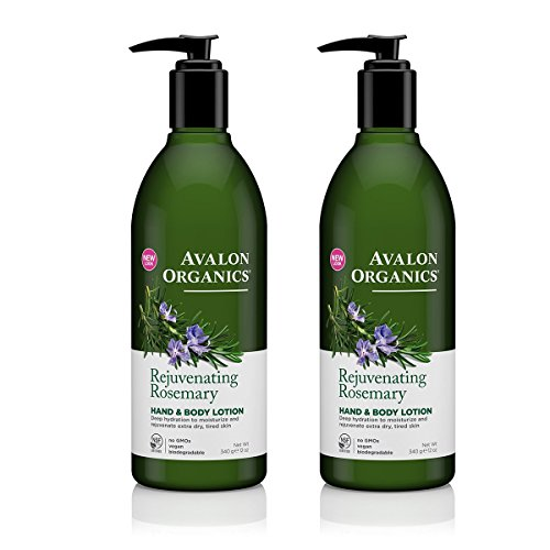 Avalon Organics Rejuvenating Rosemary Hand and Body Lotion with Shea butter, Safflower and Coconut Oils, 12 fl. oz. (Pack of (Avalon Coconut)
