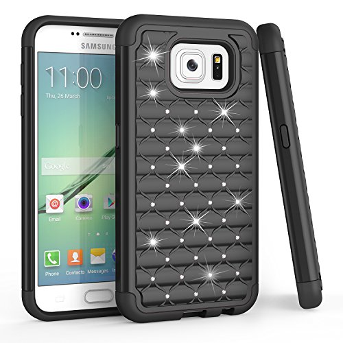 TILL for S6 Case, Galaxy S6 Case, (TM) Studded Rhinestone Crystal Bling Diamond Sparkly Luxury Shock Absorbing Slim Fit Hybrid Defender Rugged Glitter Cute Case Cover for S6 S VI G9200 GS6 [Black]