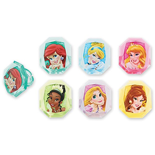 DecoPac Disney Princess Gemstone Princesses Cupcake Rings (24 Count)