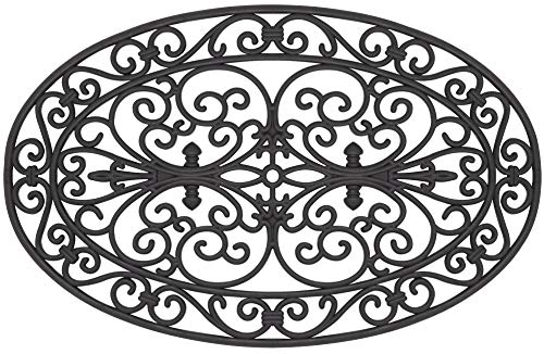 Envelor Home and Garden Wrought Iron Design Oval Scroll Rubber Doormat Indoor Outdoor Door Mat Shoe Scraper Floor Mat 18 x 28 Inches