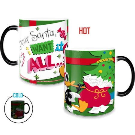 Morphing Mugs Looney Tunes Dear Santa Christmas Heat Reveal Ceramic Coffee Mug - 11 Ounces