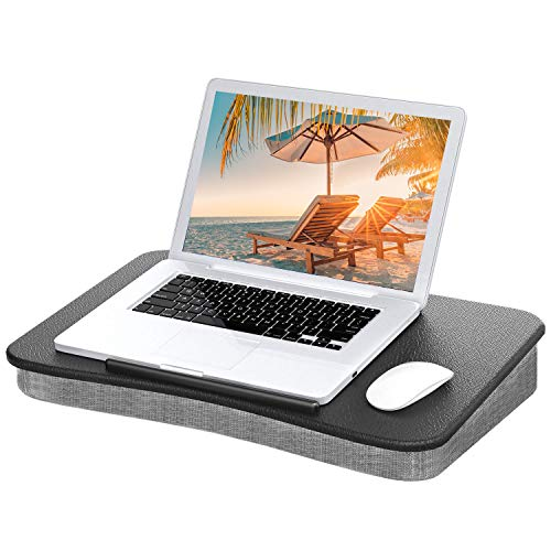 Laptop Lap Desk - Fits up to 15.6 inch Laptop, Portable Lap Desk with Pillow Cushion, Use as Computer Laptop Stand, Book Tablet Stand with Anti-Slip Strip for Home Office Students Traveling by HUANUO ()