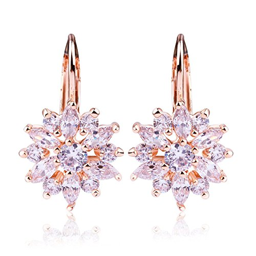 BAMOER 18K Rose Gold Plated Snowflake Leverback Earrings with Cubic Zirconia for Women Girls CZ Jewelry Fashion Drop Earrings 3 Style