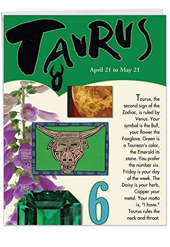 (J9443 Taurus Astrological Sign Birthday Card - Famous People, Moto, Personality, Stone, Symbol, Planet, Color, Flowers and Dates (Extra Large 8.5'' x 11'')