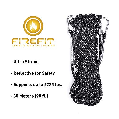 Static Reflective Outdoor Rock Climbing Rope with Carabiner, Tree Climbing Gear for Outdoor Activities, 10mm Heavy Duty Mountain Equipment & 30m(98 ft) Emergency Fire Safety Braided Ropes