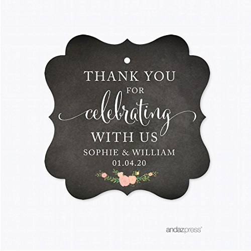 (Andaz Press Chalkboard Floral Party Wedding Collection, Fancy Frame Gift Tags, Personalized Thank You for Celebrating With Us, 24-Pack, Custom Name)