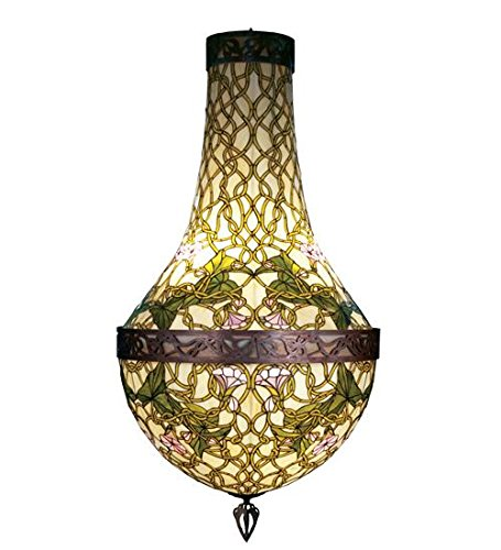 Meyda Tiffany 38458 Grand Morning Glory Collection 6-Light Pendant, Antiqued Copper Finish with Bone Beige and Jade Green Stained Glass - Meyda Tiffany Garden